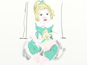 Petite fille au doudou Infographie par La Vilaine